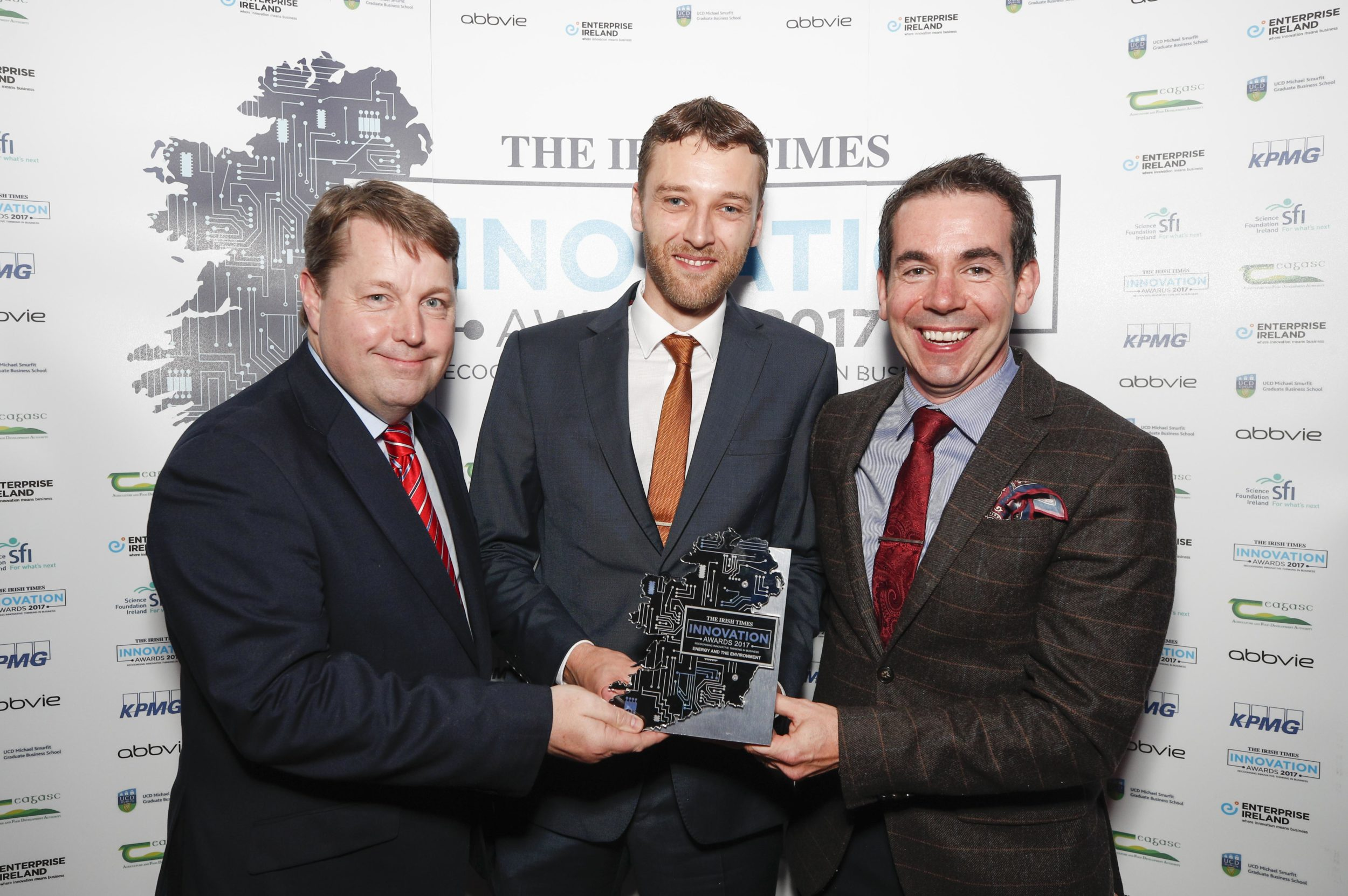 *** NO REPRODUCTION FEE *** 11/10/2017 : DUBLIN : Pictured was Ciarán Hancock, The Irish Times presenting the award for Energy and Environment to Dermot Hughes and Michael Murray from NVP Energy at the Irish Times Innovation Awards 2017 which took place at the Royal Hospital Kilmainham. Picture Conor McCabe Photography.